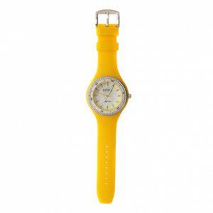 Dámske hodinky Axcent so žltým pryžovým remienkom a kamienkami