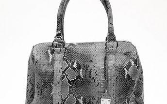 Dámska šedá kabelka s hadím vzorom a visačkou Princess Cult