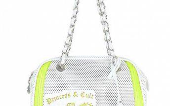Dámská zeleno-bílá kabelka s řetízkem a potiskem Princess Cult