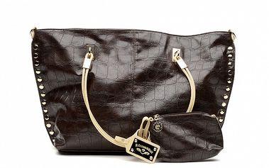 Dámska hnedá kabelka so zlatými cvočkami a peňaženkou na drobné Princess Cult