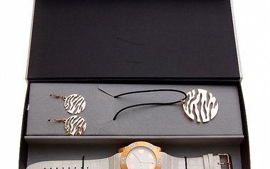Darčeková sada Axcent - bielo-zlaté hodinky a náhrdelník s náušnicami