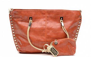 Dámská oranžová kabelka se zlatými cvočky a peněženkou na drobné Princess Cult