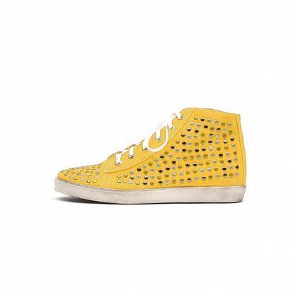 Dámské žluté kotníkové tenisky s cvočky Queen Cult