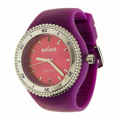 Dámske hodinky Axcent s fialovým pryžovým remienkom a kamienkami