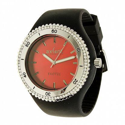 Dámske hodinky Axcent s čiernym pryžovým remienkom a kamienkami