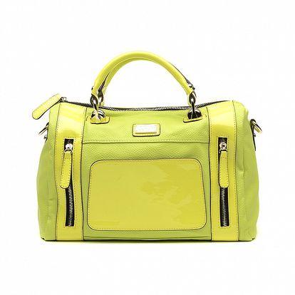 Dámska limetkovo zelená kabelka s lakovanými časťami a odopínateľným popruhom Princess Cult