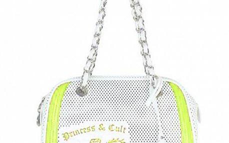 Dámska zeleno-biela kabelka s retiazkou a potlačou Princess Cult
