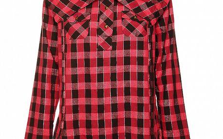 Dámska červeno-čierna kockovaná košeľa s výrazným límcom Roxy