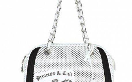 Dámská černo-bílá kabelka s řetízkem a potiskem Princess Cult