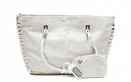 Dámska krémová kabelka so zlatými cvočkami a peňaženkou na drobné Princess Cult