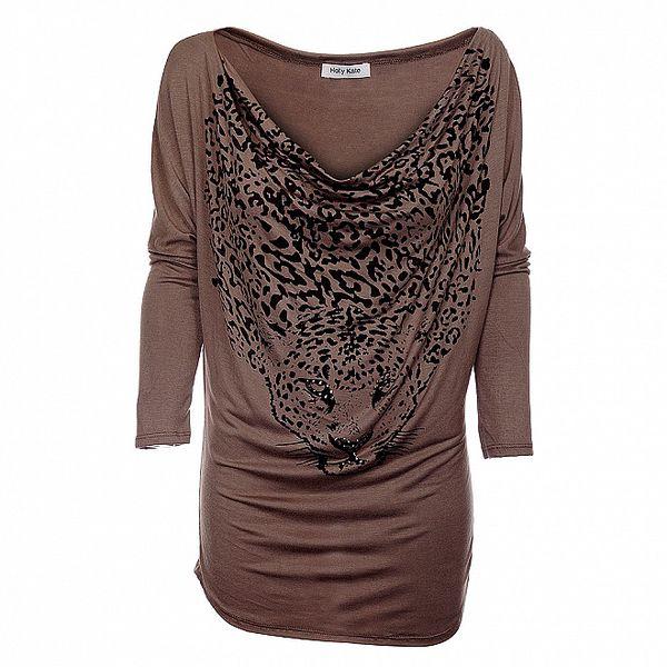 Dámské hnědé šaty Holly Kate s leopardem