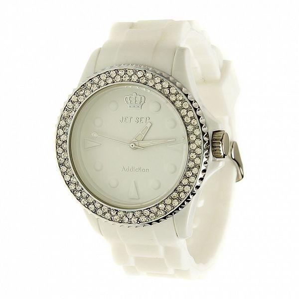 Dámske biele hodinky Jet Set s kamienkami