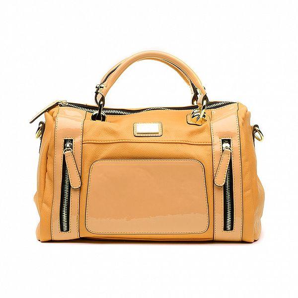 Dámska pomarančová kabelka s lakovanými časťami a odopínateľným popruhom Princess Cult