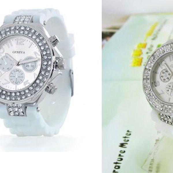 Luxusní hodinky GENAVA se stříbrnými kamínky z odolného silikonu pro pohodlné nošení na sport i zábavu!