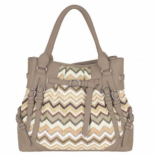 Dámska béžová kabelka s cik cak vzorom Princess Cult