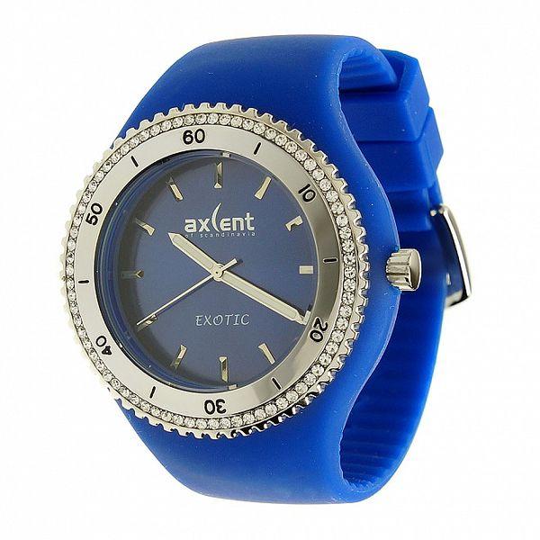 Dámské hodinky Axcent s modrým pryžovým řemínkem a kamínky