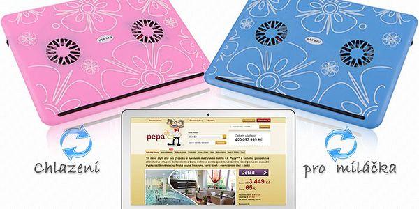 Stylová chladící podložka pod notebook s motivy v různých barvách