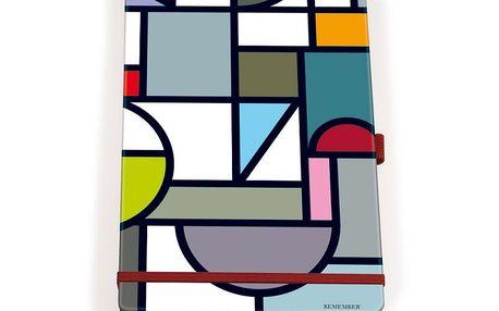Šikovný poznámkový blok Finestra - papír, gumička, propiska, kapsička na vizitky