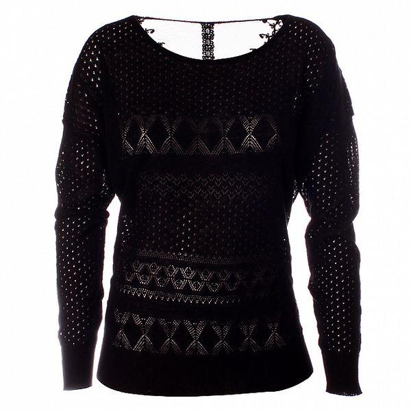 Dámsky čierny pletený sveter s dlhým rukávom Daphnea