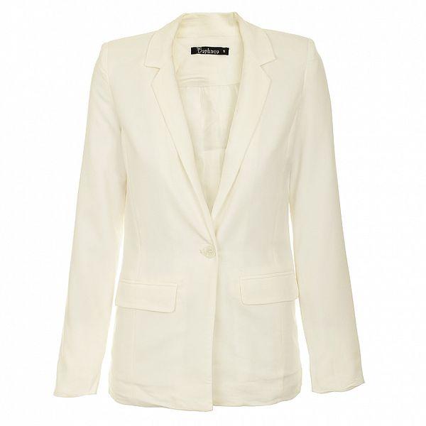 Dámské bílé sako s klopami Daphnea