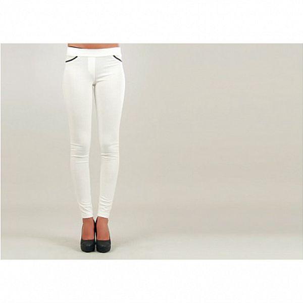 Dámské bílé úzké kalhoty s černě lemovanými kapsami Ginger Ale