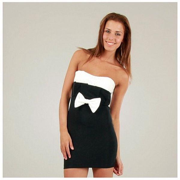 Dámské černo-bílé šaty s výraznou mašlí Ginger Ale