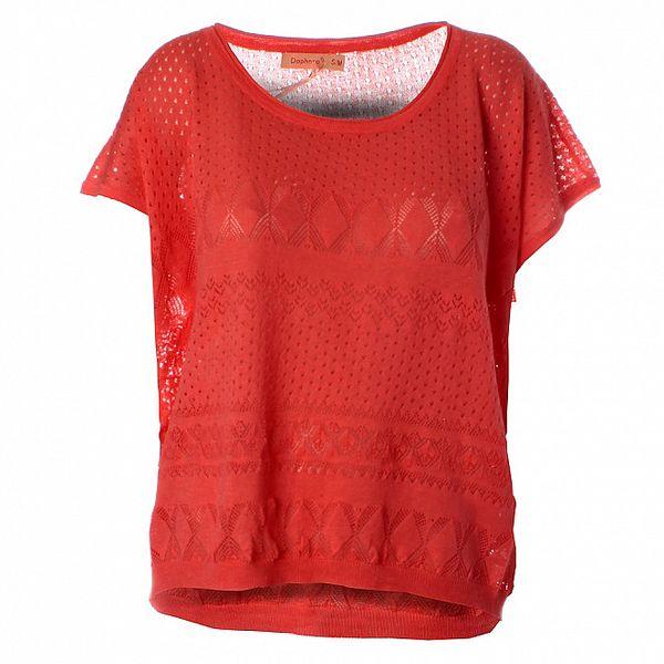 Dámský korálově červený pletený top Daphnea