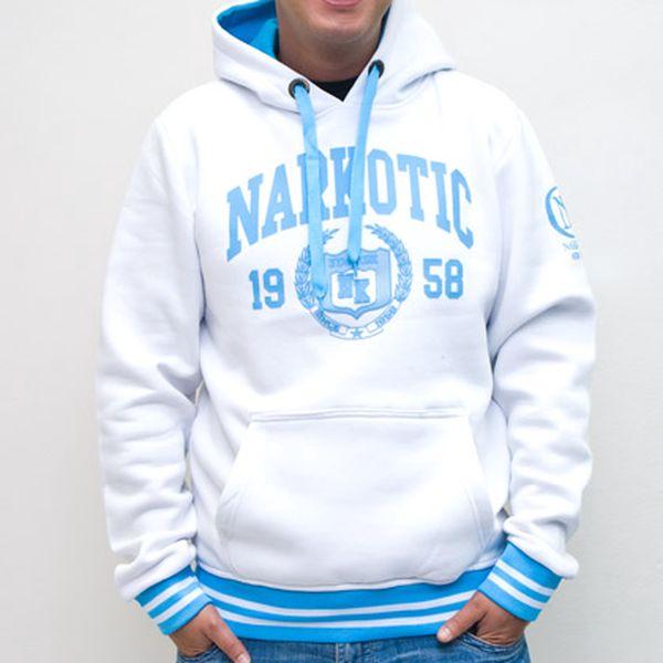 Pánská bílá mikina s modrým nápisem Narkotic