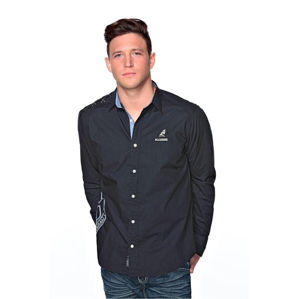 Pánská košile M-Conte Roberto tmavě modrá s potiskem