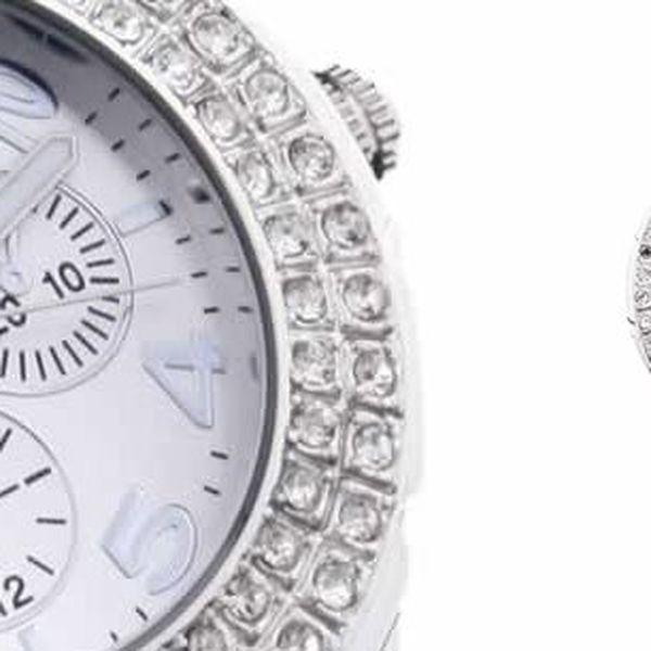 Stylové a luxusní dámské hodinky s kamínky a silikonovým řemínkem v bílém provedení od Fashion Only.