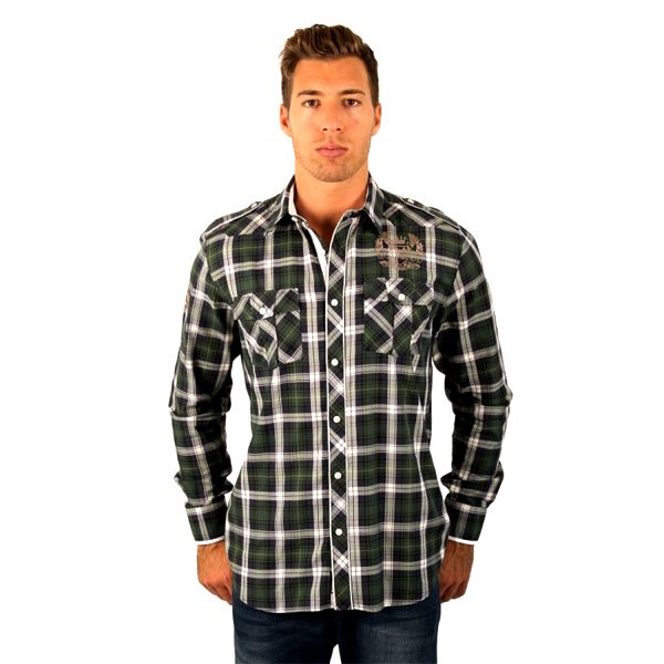 Pánská košile M-Conte Mateo zeleno-modrá kostkovaná