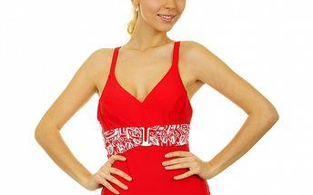 Dámské sytě červené jednodílné plavky Anizzia s bílým páskem