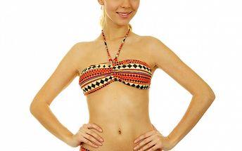 Dámske oranžové vzorované bikini s korálkami Anizzia