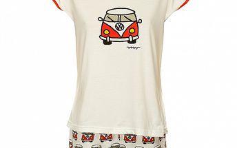 Dámské bílé pyžamo Admas s motivem auta - šortky a tričko