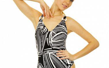 Dámske čierno-biele jednodielne plavky Anizzia s potlačou