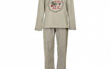 Dámske svetlo šedé pyžamo Admas s potlačou - nohavice a tričko