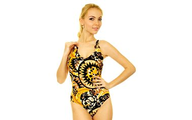 Dámské černo-žluto-hnědé jednodílné plavky Anizzia s potiskem