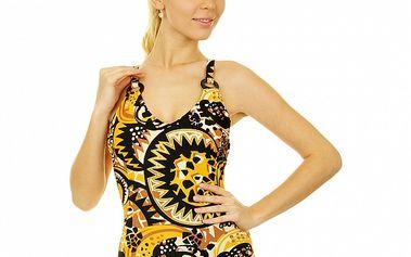 Dámske čierno-žlto-hnedé jednodielne plavky Anizzia s potlačou