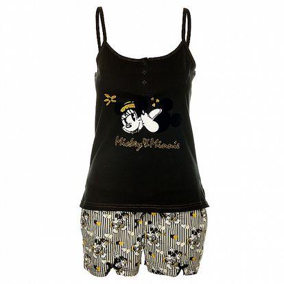 Dámské černo-bílé pyžamo Disney - šortky a tílko