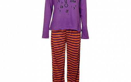 Dámske fialovo-oranžové pyžamo Isma s potlačou - nohavice a tričko