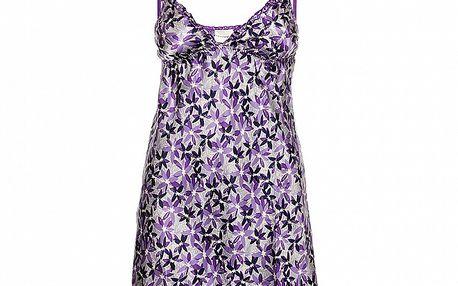 Dámska fialová nočná košeľa Admas s kvetinovým vzorom