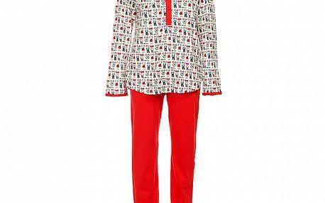Dámské červeno-bílé pyžamo Admas s kočkami - kalhoty a tričko