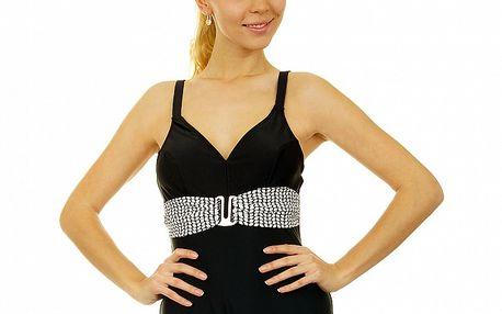 Dámske čierne jednodielne plavky Anizzia s bielym opaskom