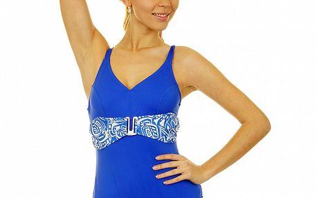 Dámské sytě modré jednodílné plavky Anizzia s bílým páskem