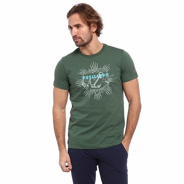 Pánske zelené tričko s potlačou kotvy Cooperativa