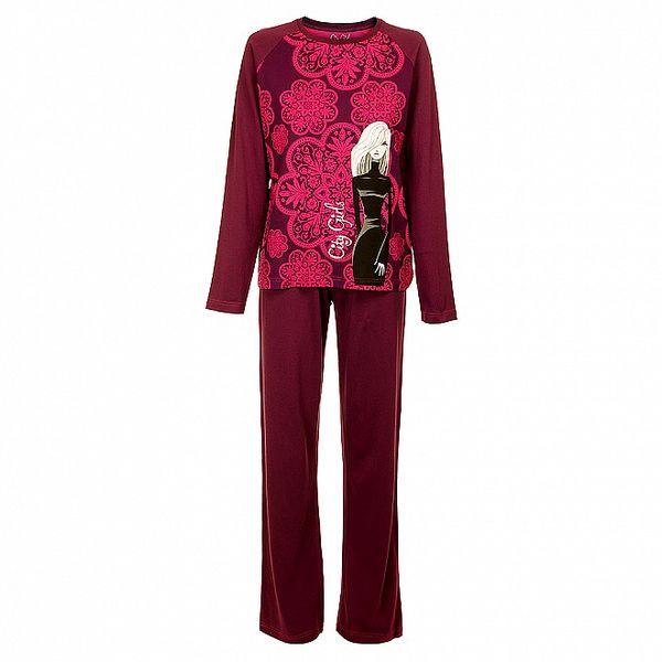 Dámske fialové pyžamo Marie Claire s potlačou - nohavice a tričko