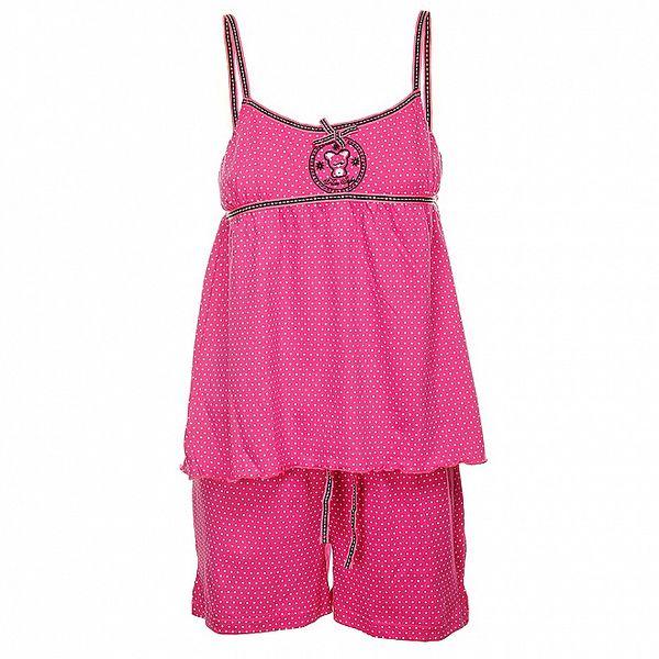 Dámske ružové bodkované pyžamo Admas - šortky a tielko