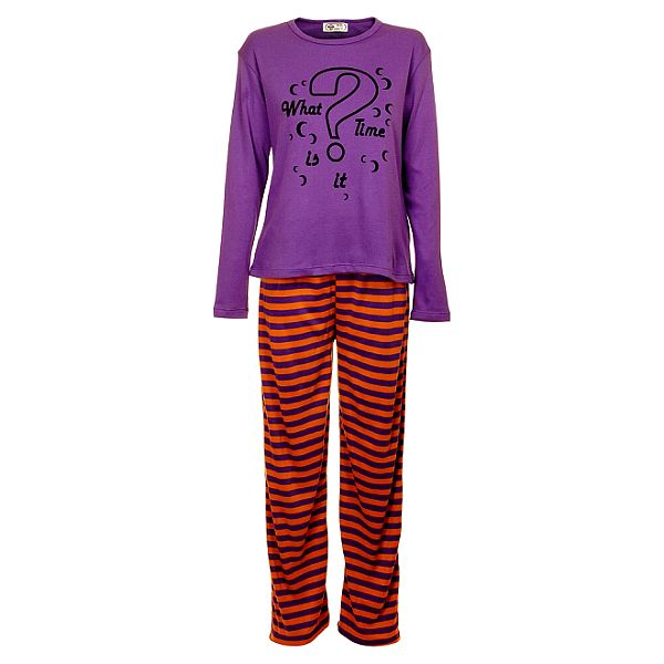 Dámské fialovo-oranžové pyžamo Moda Para TI s potiskem - kalhoty a tričko