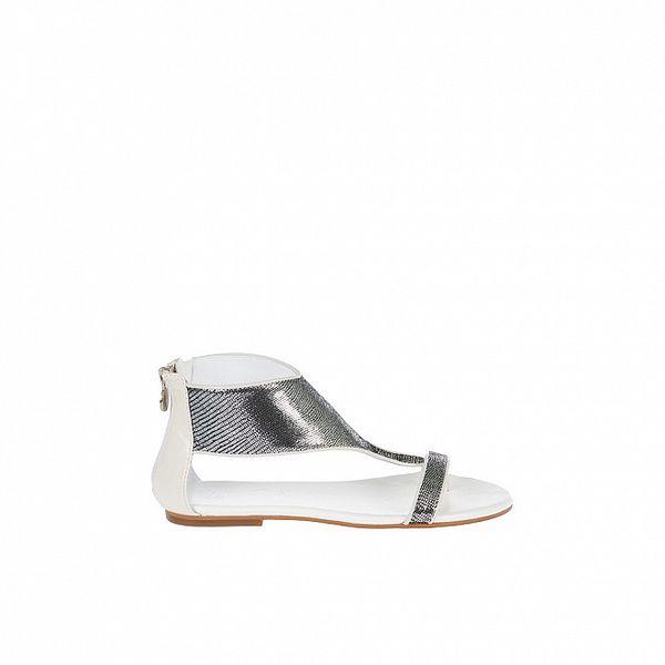 Dámské bílo-stříbrné sandály Miss Sixty