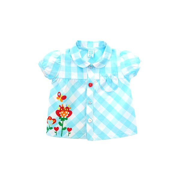 Svetlo modrá kojenecká kockovaná košielka Tuc Tuc s kvetinkami